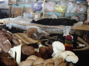 A few of the mill products, with bags of fiber on the shelves waiting to be processed.