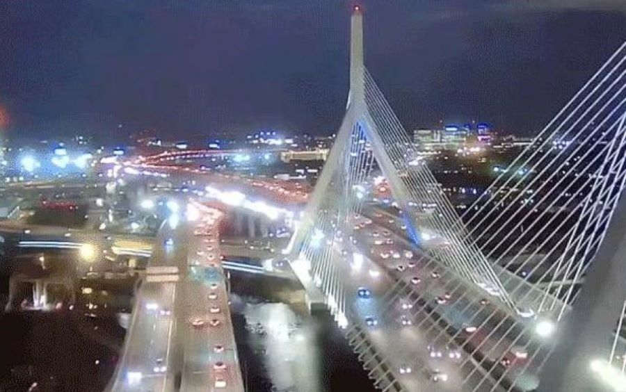 A Car Flew Off The Zakim Bridge Friday Night And Landed On The Ramp Below *