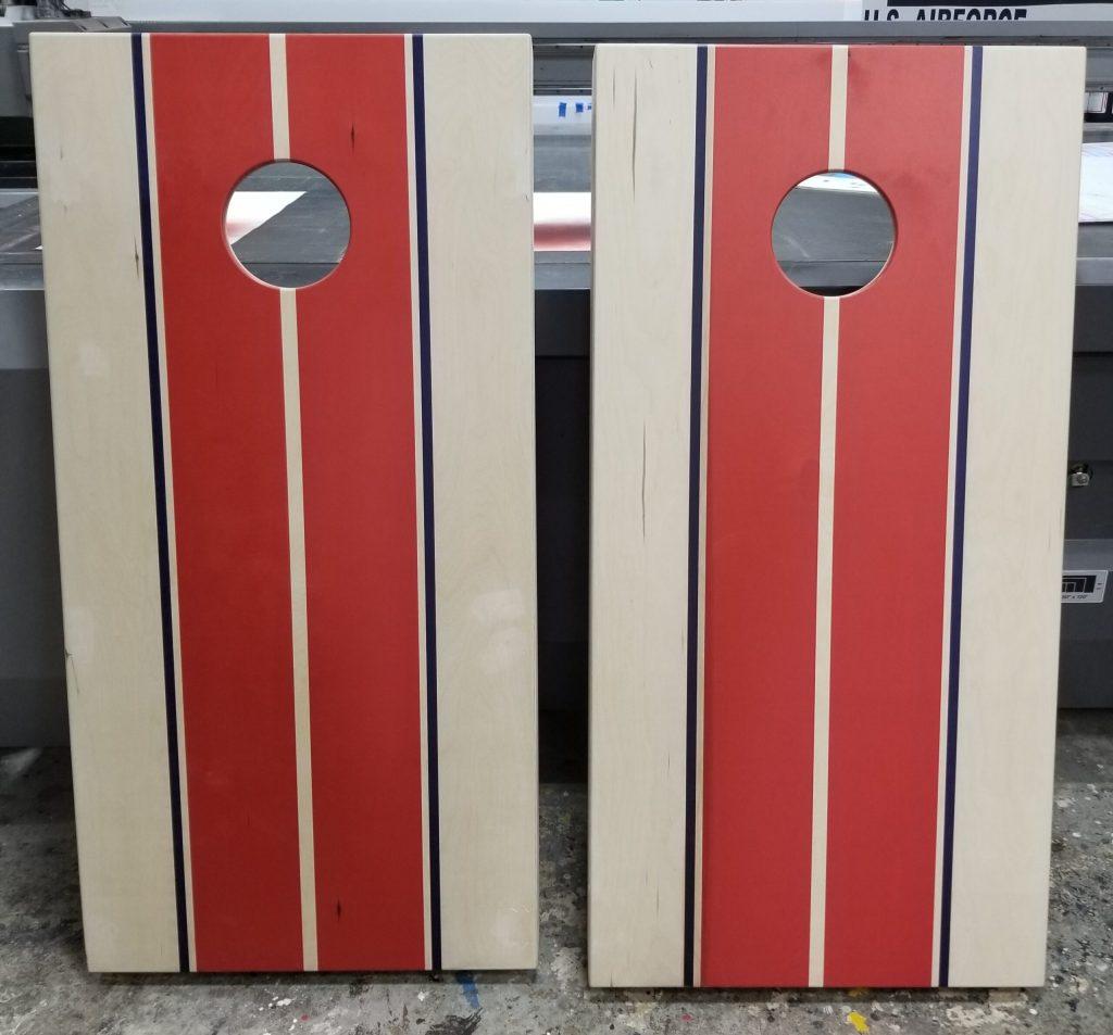 Classic racing stripe cornhole board set.