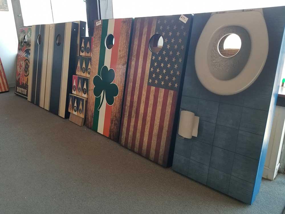 An assortment of our most popular custom cornhole board sets.
