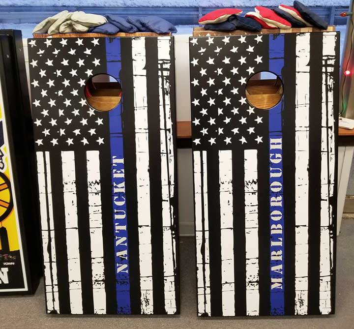 Thin blue line american flag with customization.