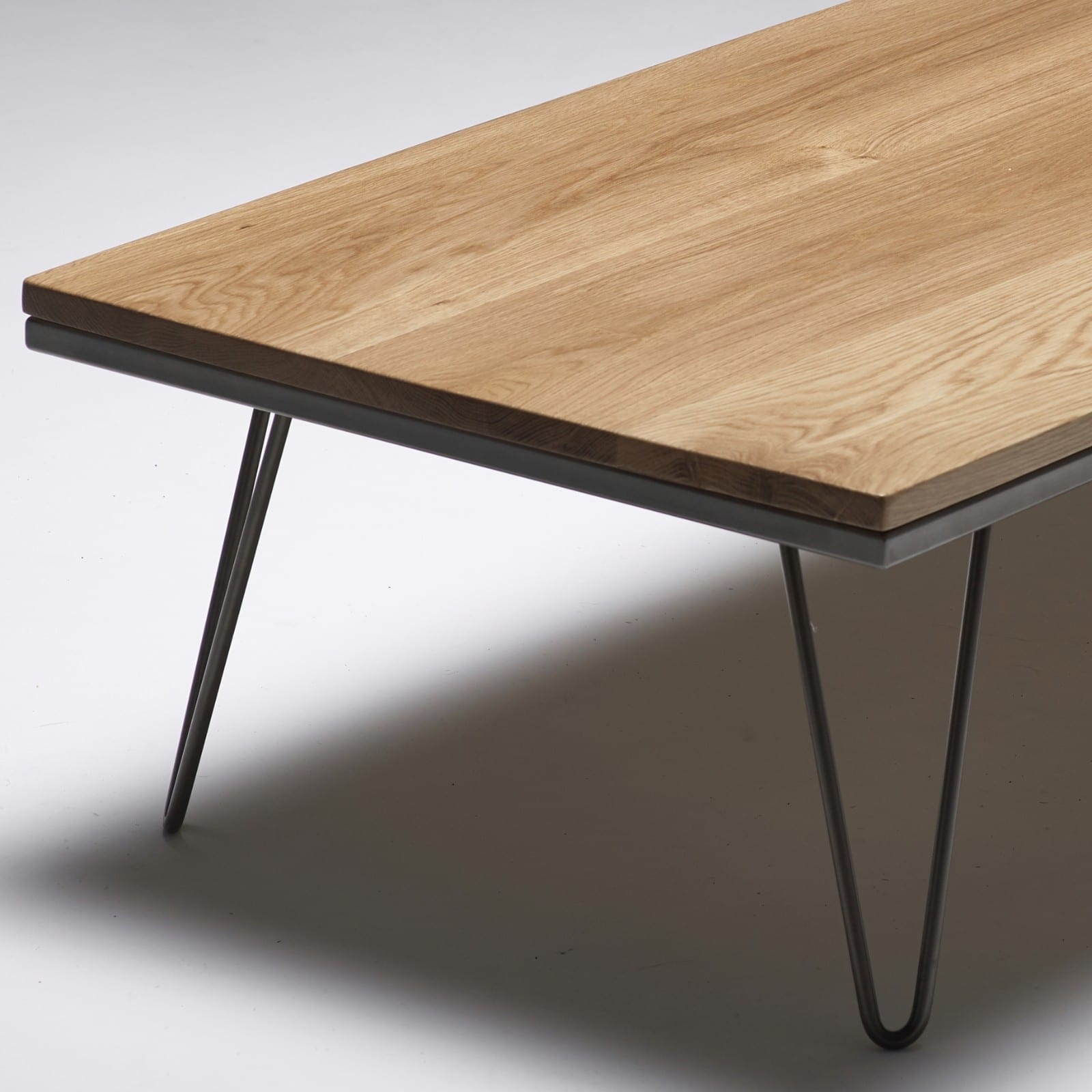solid oak hairpin coffee table