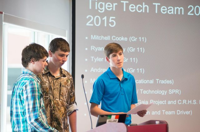 Tyler Hicks, Mitchell Cooke and Andrew White pitch their solar heating idea. (Michael Hawkins/Wicked Ideas)