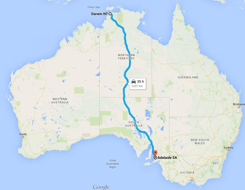 Adelaide to Darwin