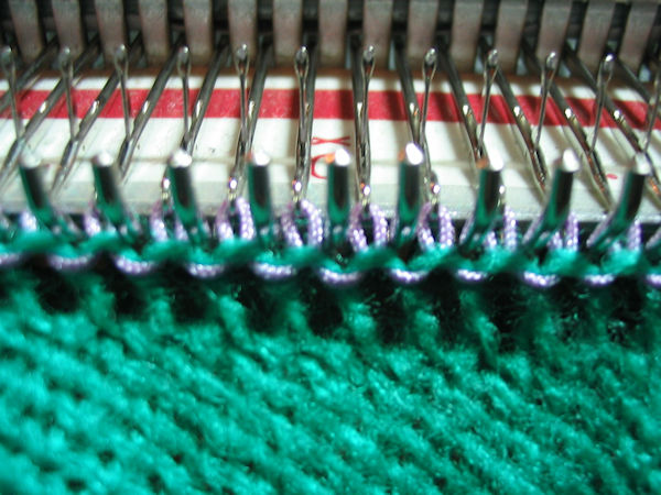 knit 1 row with cord