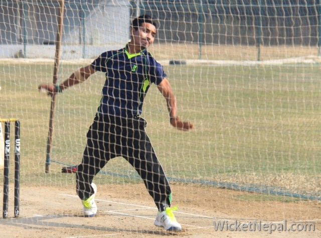 Sompal Kami bowling in nets