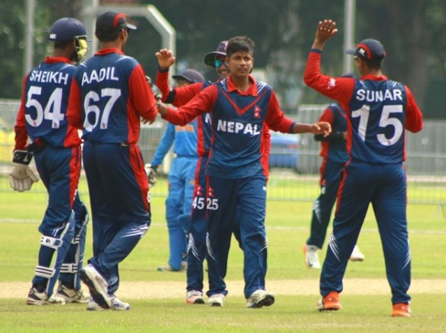 Sandeep Lamichhane celebrating wicket