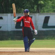 Dipendra Airee after scoring Half Century