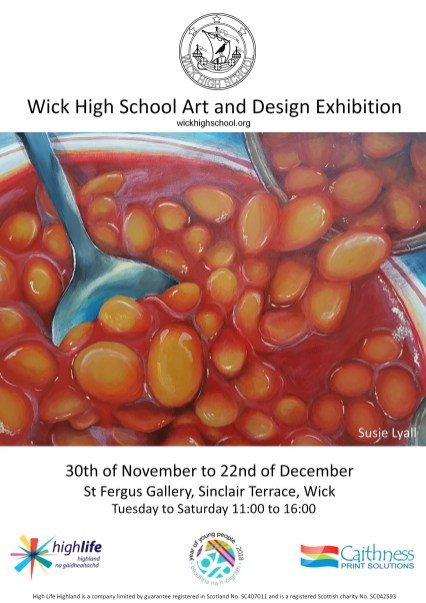 A poster for the event showcasing a piece of work by Susie Lyall