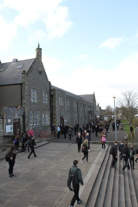 Pupils leave the building for the final time on Tuesday.