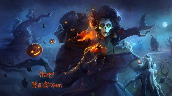 Страшный замок на Хэллоуин — Обои на рабочий стол HD качества