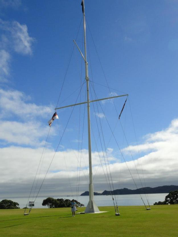 2 The site where the treaty was signed between the British and the Maori is marked by a flagstaff