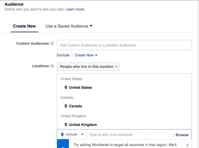 Keep scrolling down and fill in the detailed targeting section by typing keywords you know your potential audience is looking for. Again, Facebook will give useful suggestions to make this work even easier.