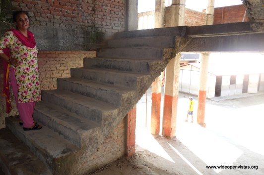 Vice Principal Shubha walks us around the school - this stairway could use a bannister
