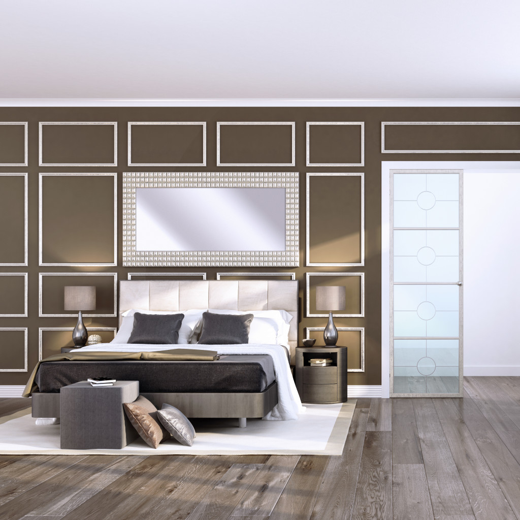 Stained white oak wide plank floor