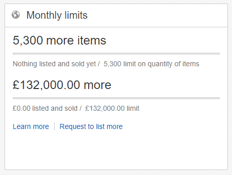 Monthly selling allowances on my eBay account