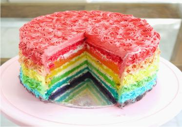 Resep Rainbow Cake Strawberry Spesial Empuk
