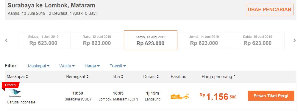 Tiket Pesawat Surabaya-Lombok
