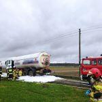 Zamarte: Rozszczelnienie zbiornika z paliwem w samochodzie ciężarowym