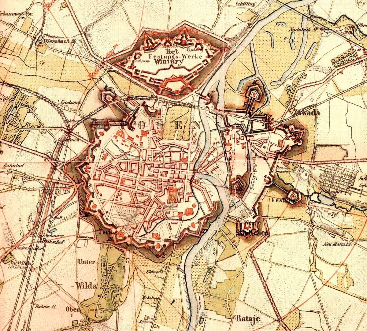 Mapa Twierdzy Poznań z 1863 roku
