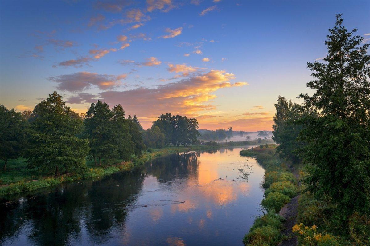 Zachód słońca nad rzeką Gwdą koło Piły