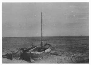 Drooggevallen Wieringermeerpolder (1930) met achtergebleven vissersboten van De Haukes
