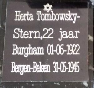 Herdenkingssteen voor Herta Tombowsky-Stern 22 jaar