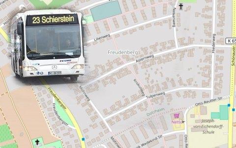 Busse der Linien 23 fahren in Richtung Schierstein über den Nelkenweg … Foto: Openstreet / Volker Watschounek