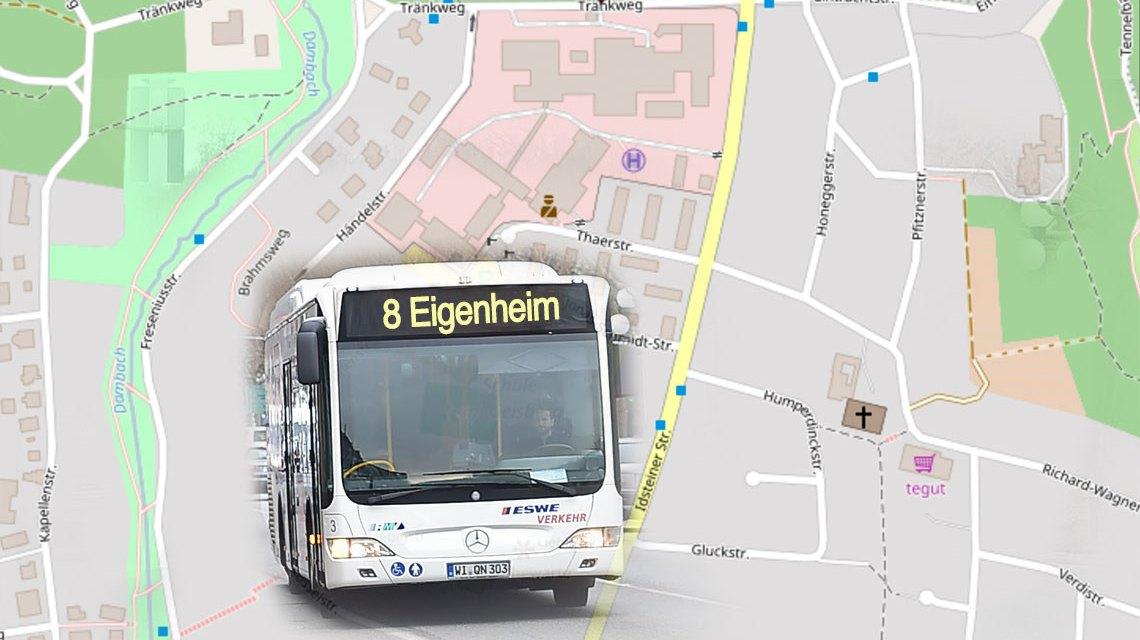Umleitung der Busline 8. Bild: Open Street / Volker Watschounek