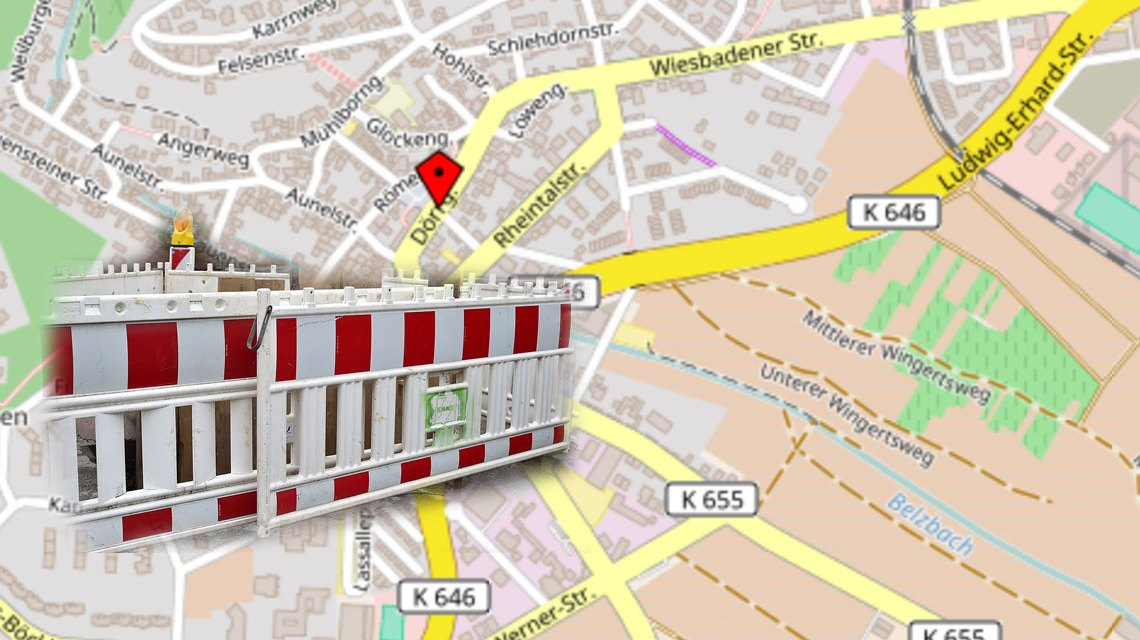 Straßen-Vollsperrung in Dotzheim wegen Bauarbeiten. Bild Open Street / Volker Watschounek
