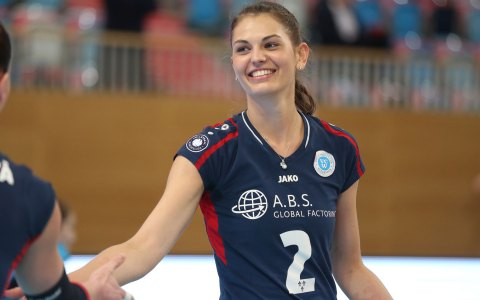 Annalena Mach im Januar nach dem Sieg des VCW gegen Aachen. Bild: Detlev Gottwald