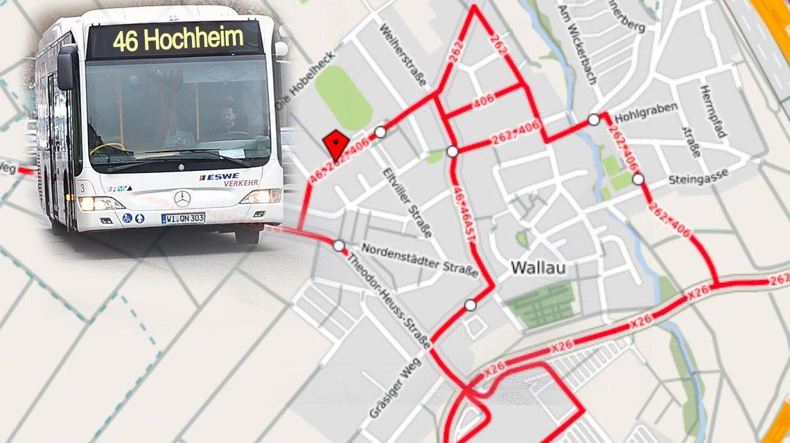 Wallau - Hochheim - Wiesbaden, die Buslinie 46 verbindet. Bild: Volker Watschounek