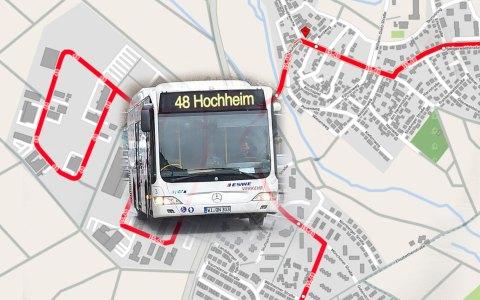 Buslinie 15, 48 und N2 – Busverkehr Richtung Hocheim... Bild: Open Street / Volker Watschounek