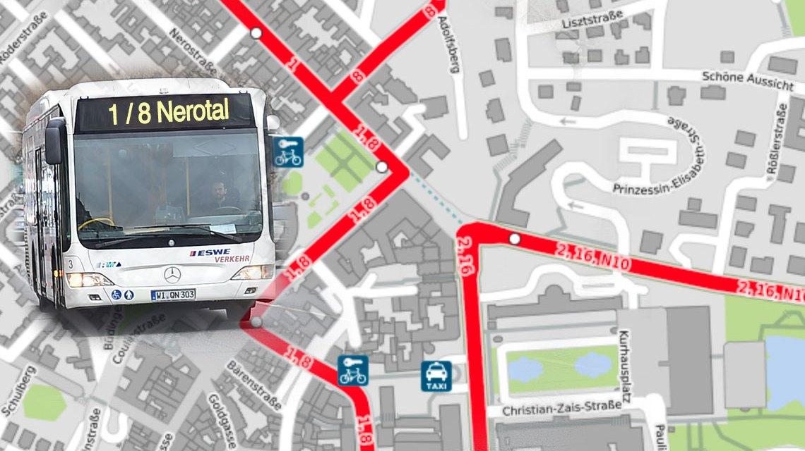 """Die Haltestellen """"Kurhaus/Theater"""" (in Richtung Nerotal / Eigenheim / Bahnholz) und """"Kochbrunnen"""" (in Richtung Innenstadt) entfallen. Bild: Open Street / Volker Watschounek"""