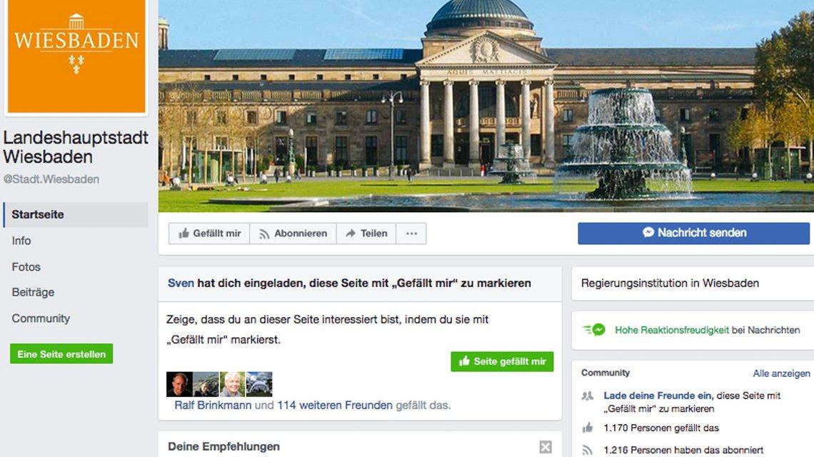 Die Stadt Wiesbden ist jetzt auch drin, drinnen bei Facebook. Bild: Facebook