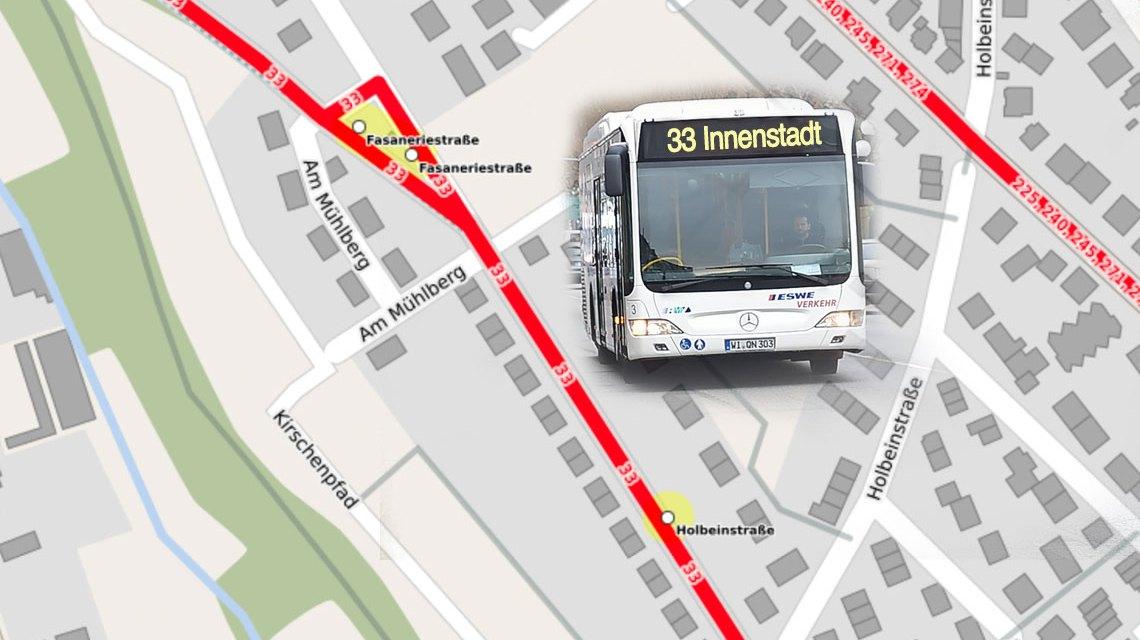 Umleitung der Buslinie 33. ©2017 Open Street / Volker Watschounek