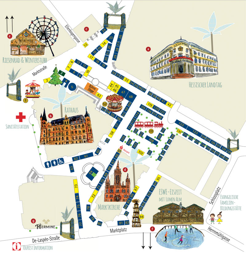 Übersichtsplan des Wiesbadener Sternschnuppen Markt ©2017 Wiesbaden Marketing