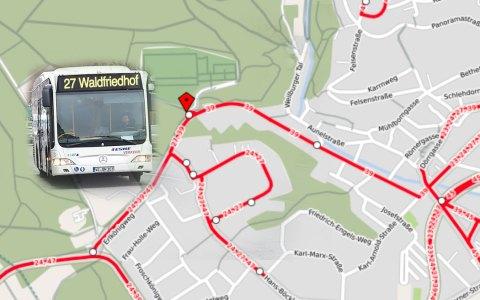 Buslinie 27, Waldfriedhof