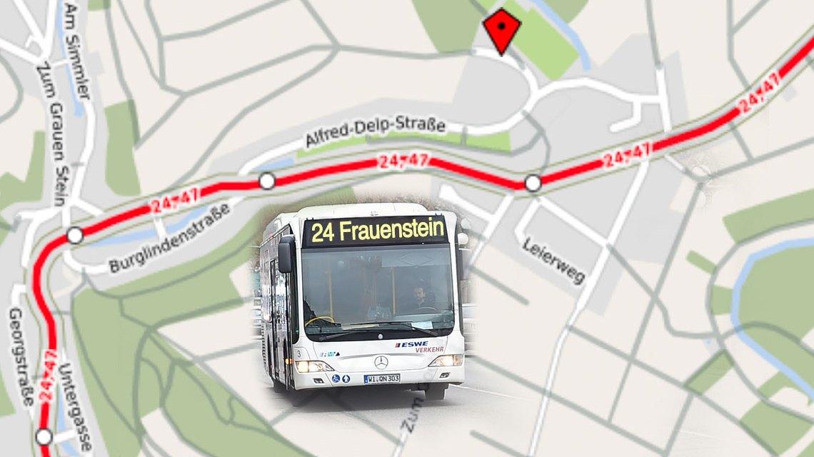 Umleitung des Bslinie 24 wegen Rosenmontag.