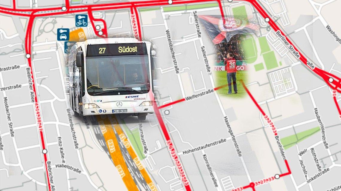 Wegen eines Heimspiels des SVWW in der Brita-Arena fährt die Linie 27 nach der Haltestelle einen anderen Weg. ©2018 Volker Watschounek / Open Street map
