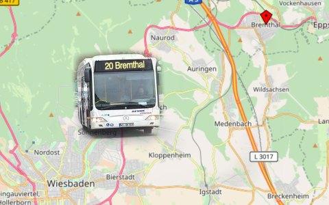 Wegen der Vollsperrung der B 455 zwischen Naurod und Bremthal muss ab sofort voraussichtlich bis zum 28. August der Fahrplan der Linie 20 insgesamt eingeschränkt werden. ©2018 Volker Watschounek / OpenStreetMap
