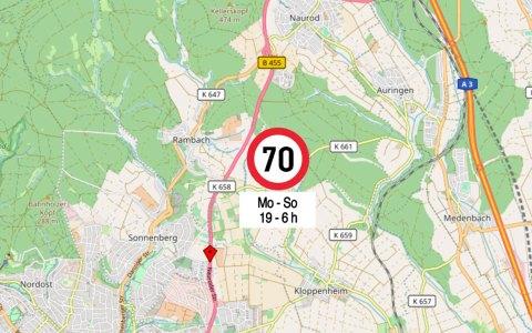 Auf der B 455 im Bereich zwischen Bierstadt und Naurod gilt eine neue Geschwindigkeitsregelung. ©2018 Open Street map / Volker Watschounek