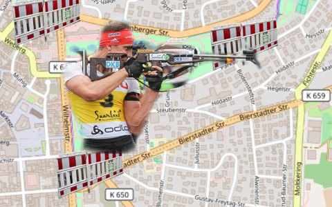 City-Biathlon: Vollsperrung der Wiesbadener Innenstadt. ©2018 Volker Watschounek