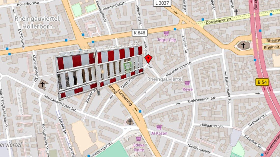 Sperrung der Kiedricher Straße. ©2018 Openstreetmap