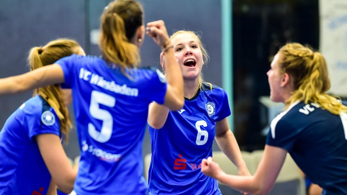 Archivbild: Volleyball 2. Bundesliga Süd Frauen | Saison 2018.2019 | 1. Spieltag | VC Wiesbaden II - TV Holz | 1:3