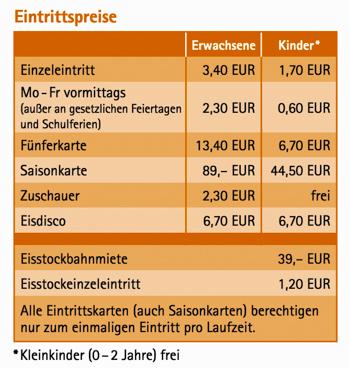 Eintrittspreise auf der Henkell-Kunsteisbahn in Wiesbaden
