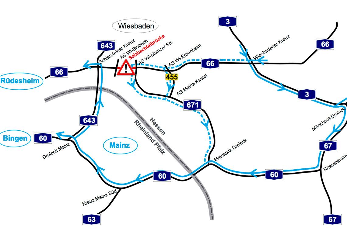 Salzbachtalbrücke nur noch einspurig. Umleitungsempfehlung von Hessen Mobil. ©2019 Hessen Mobil