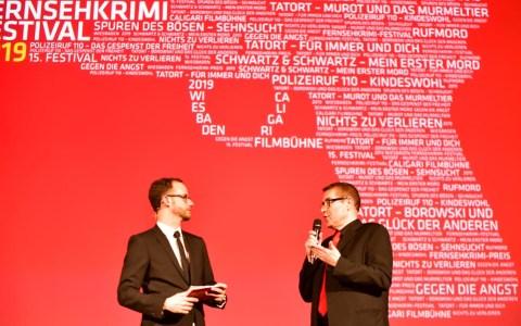 Fernsehkrimifestival 2019, Axel Imhholz bekennt sich als Krimifan. ©2019 Vollker Watschounek