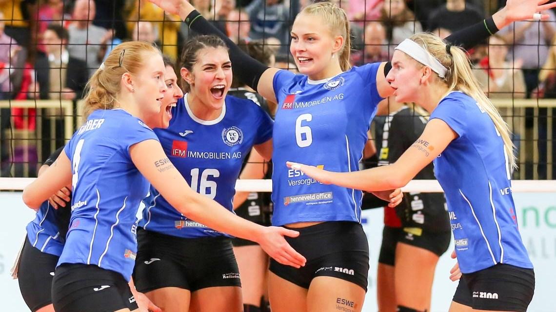 Volleyball Bundesliga, 19. Spieltag, SSC Palmberg Schwerin - VC Wiesbaden, 1:3