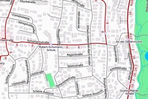 Wegen der Sperrung der Schumannstraße fährt die Linie 8 von Montag, 15. April, voraussichtlich ab 9 Uhr eine Umleitungsstrecke. ©2019 Openstreetmap